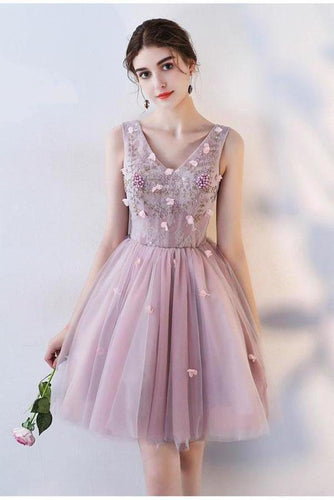 Princess Pink A Line V Neck Flowers Tulle Lace up Short Mini Homecoming XHMPST13281