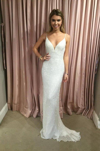 Sexy Mermaid Spaghetti Straps Sequins V Neck Prom Dresses Wedding XHMPST15666