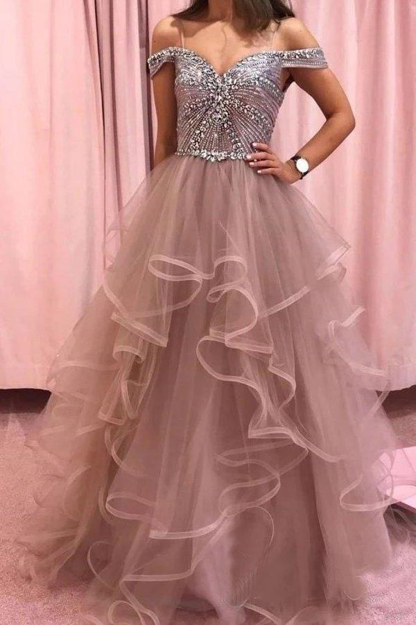 Elegant Rhinestones Layered Off the Shoulder Prom Dresses Rose Pink Tulle Party Dresses XHMPST15196
