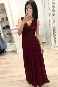 Simple Burgundy Chiffon V Neck Lace Appliques Prom Dresses Long Cheap Prom Gowns XHMPST14944