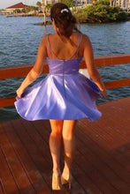 Load image into Gallery viewer, Spaghetti Straps V Neck Lilac Homecoming Dress With Pockets Backless Prom XHMPST14061
