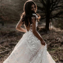 Load image into Gallery viewer, A Line Ivory V Neck Country Wedding Dresses with Appliques Beach Wedding Gowns XHMPST15548