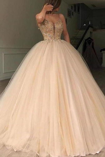 Unique Spaghetti Straps V Neck Beads Ball Gown Tulle Prom Dresses Quinceanera XHMPST14372