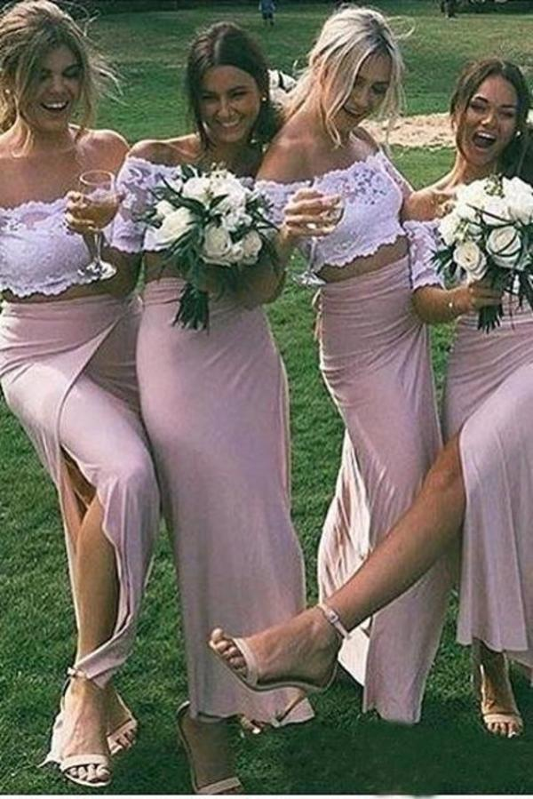 Chic Pink Short Sleeve Lace Side Slit Off the Shoulder Two Piece Bridesmaid Dresses XHMPST14877