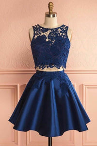Two Piece Dark Blue Satin Cute Short A-Line Homecoming Dress with Lace XHMPST14231