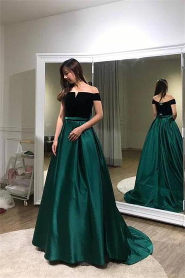 Unique A line Black And Green Long Elegant Off the Shoulder Satin Prom XHMPST14295