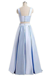 A Line Blue Two Piece Satin Sweetheart Prom Dresses Long Cheap Evening XHMPST10167