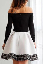 Load image into Gallery viewer, A Line Black and White Off the Shoulder Long Sleeve Short Homecoming Dresses with XHMPST10134