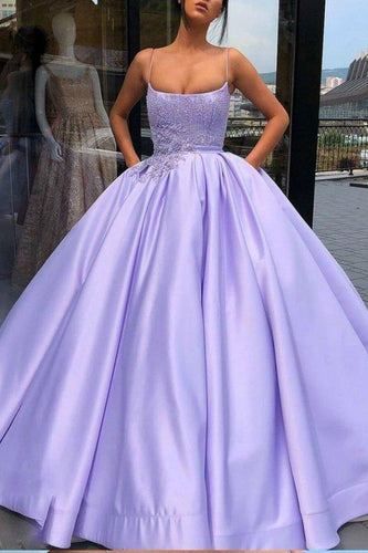 Purple Ball Gown Spaghetti Straps Satin Sweet 16 Dress With Pocket Quinceanera XHMPST13323