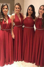Load image into Gallery viewer, Elegant A Line Chiffon Red Crystal Maid of Honor Bridesmaid Dresses with XHMPST20459