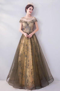 Elegant Round Neck Sequins Tulle Appliques Prom Dresses with Short Sleeves Dance Dresses XHMPST15197