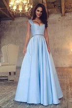 Load image into Gallery viewer, A Line Blue Two Piece Satin Sweetheart Prom Dresses Long Cheap Evening XHMPST10167