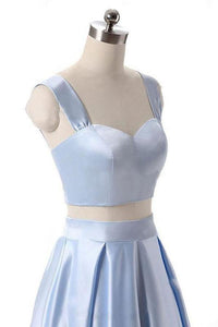 A Line Blue Two Piece Satin Sweetheart Prom Dresses Long Cheap Evening Dresses XHMPST14801