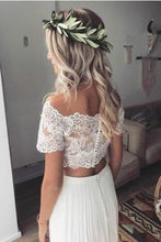 Load image into Gallery viewer, Two Pieces Short Sleeve Off the Shoulder Ivory Lace Beach Wedding Dresses with XHMPST14289