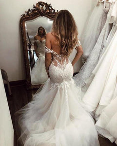 Off the Shoulder Mermaid Tulle Wedding Dresses Lace Appliques Bridal XHMPST13095