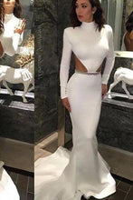 Load image into Gallery viewer, White High Neck Mermaid Long Sleeve Hollow Waist Backless Saudi Arabia Prom XHMPST14489