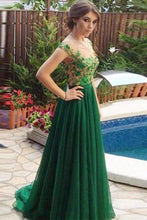 Load image into Gallery viewer, A Line Appliques Cheap Sweetheart Round Neck Green Tulle Long Prom XHMPST10129