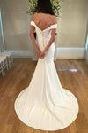 Unique Spaghetti Straps Sweetheart Ivory Mermaid Wedding Dress Long Bridal XHMPST14371