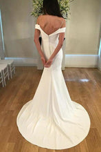 Load image into Gallery viewer, Unique Spaghetti Straps Sweetheart Ivory Mermaid Wedding Dress Long Bridal XHMPST14371