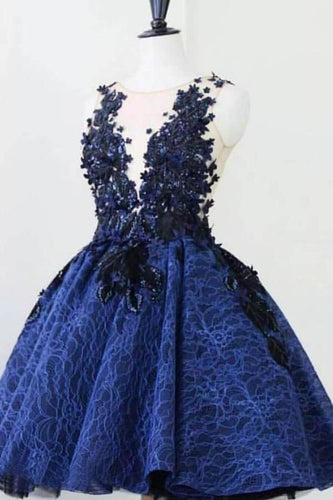 Royal Blue Lace Appliques Short Prom Dresses Vintage Above Knee Homecoming XHMPST13415