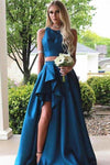 Simple Vintage Two Pieces A-line Blue Sleeveless Slit Long Scoop Woman Evening XHMPST13995