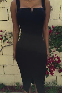 Sexy Sheath Black Spaghetti Straps Slit Tea Length Prom Dresses Homecoming XHMPST13676