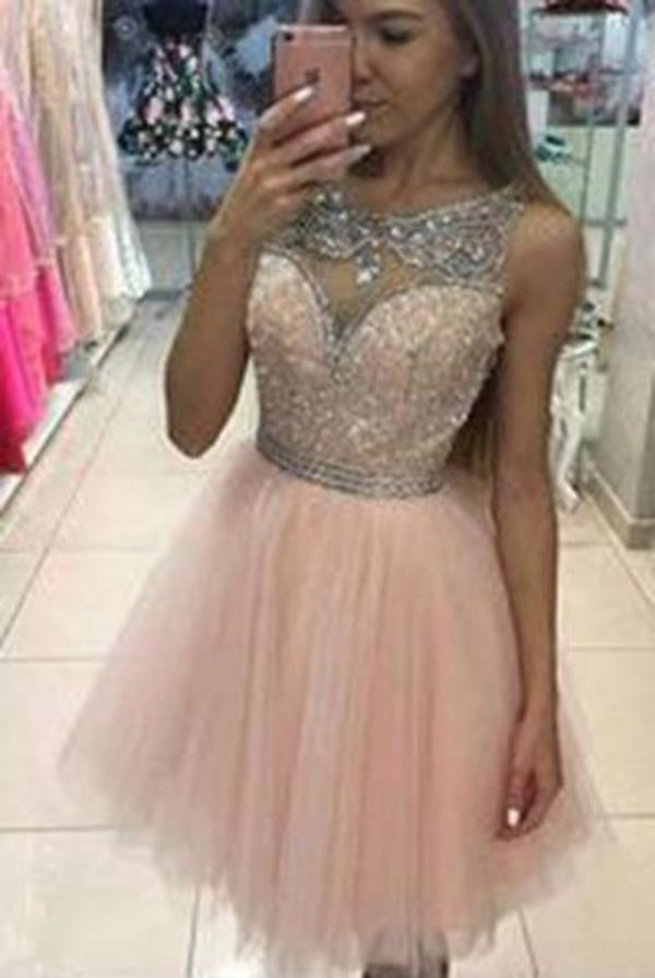 Tulle Short BeadS Cute Sleeveless Elegant Fashion Sexy Custom Made Homecoming Dresses XHMPST14682