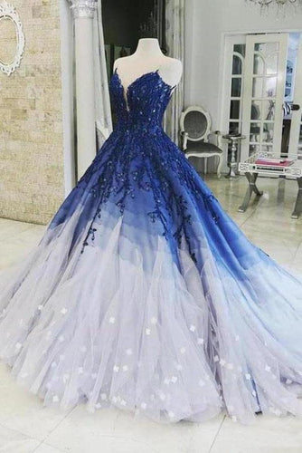 Ombre Ball Gown Royal Blue Prom Dresses With Appliques Long V Neck Quinceanera Dresses XHMPST15275