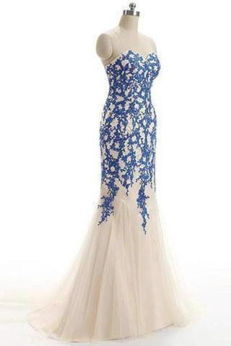 Strapless Tulle Mermaid Lace Dresses Long Prom Dress with XHMPST14116