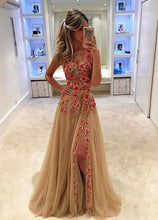 Load image into Gallery viewer, Unique Champagne Tulle Applique Long with Slit Sleeveless Floor Length Prom XHMPST14327