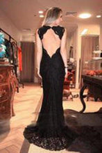 Load image into Gallery viewer, V-neck Black Lace Long Split Prom Dresses Evening XHMPST14419