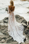 A Line Long Sleeves Bateau Lace Wedding Dresses with Appliques Beach Wedding Gowns XHMPST15005