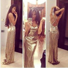 Load image into Gallery viewer, Sparkly Gold Sequins V-Neck Criss Cross Sleeveless Sheath Backless Prom XHMPST14082