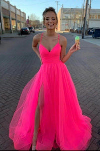 Modest Tulle V Neck Spaghetti Straps Pink Long Prom Dresses with XHMPST15656