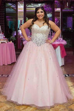 Load image into Gallery viewer, Strapless Ball Gown Beads Pink Sweetheart Plus Size Lace up Sleeveless Evening XHMPST14096