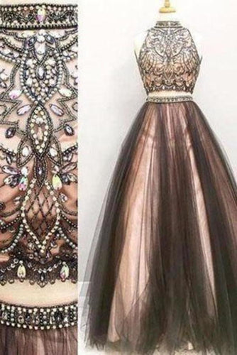 Two pieces A line Beaded 2020 Tulle prom dress dresses for prom Long prom XHMPST14258