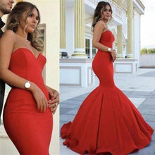 Load image into Gallery viewer, Red Chic Sweetheart Strapless Sleeveless Mermaid Satin Prom Dresses XHMPST14670