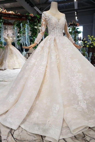 Princess Long Sleeve Beads Lace Appliques Ivory Prom Dresses Quinceanera XHMPST13276