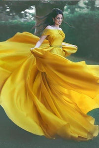 Stylish A-Line Off-Shoulder Yellow Chiffon Evening Dress with Beads Prom XHMPST14143