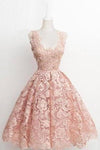 Vintage A-line Scalloped-Edge Knee-Length Lace Light Pink Prom Homecoming XHMPST14448