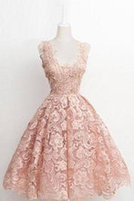 Load image into Gallery viewer, Vintage A-line Scalloped-Edge Knee-Length Lace Light Pink Prom Homecoming XHMPST14448