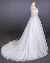 Load image into Gallery viewer, A Line Straps V Neck Lace Appliques Tulle Wedding Dresses Long Wedding Gowns XHMPST15034