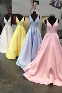 Unique Yellow Satin Prom Dresses with V Neck V Back Straps Long Formal XHMPST14394