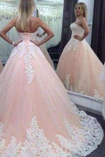 Vintage Ball Gown Sweetheart Pink Lace Appliques Tulle Long Quinceanera XHMPST14451