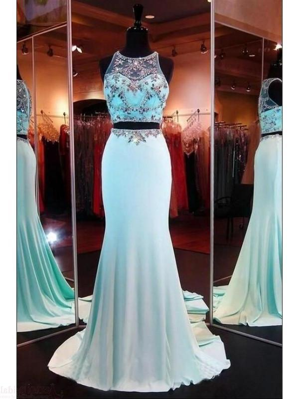 Two Pieces Beading Bodice Long Satin Prom Dresses Evening XHMPST14265