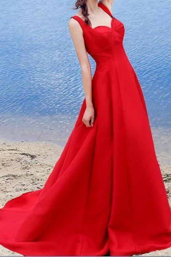 Sexy Elegant Red A-line Halter Satin Sweetheart Lace Up Simple Prom XHMPST13579