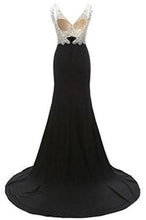 Load image into Gallery viewer, V-Neck Crystal Beaded Mermaid Black Long Prom Dress Slit XHMPST14420