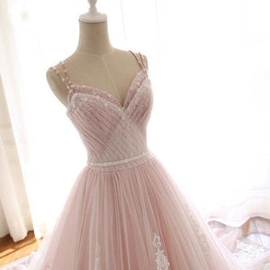 Elegant Pink Sweetheart Tulle Lace Appliques Lace up Prom Evening Dresses XHMPST14657
