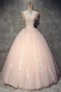 Light Peach Tulle Long Prom Dress with Flowers Princess Ball Gown Sheer Neck Party Dress WK XHMPST14725
