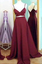 Load image into Gallery viewer, Two Piece Straps Long Prom Dress Evening Dress Spaghetti Straps Wine Red Prom XHMPST14254